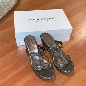 New In Box Mila Paoli Wedge Sandals